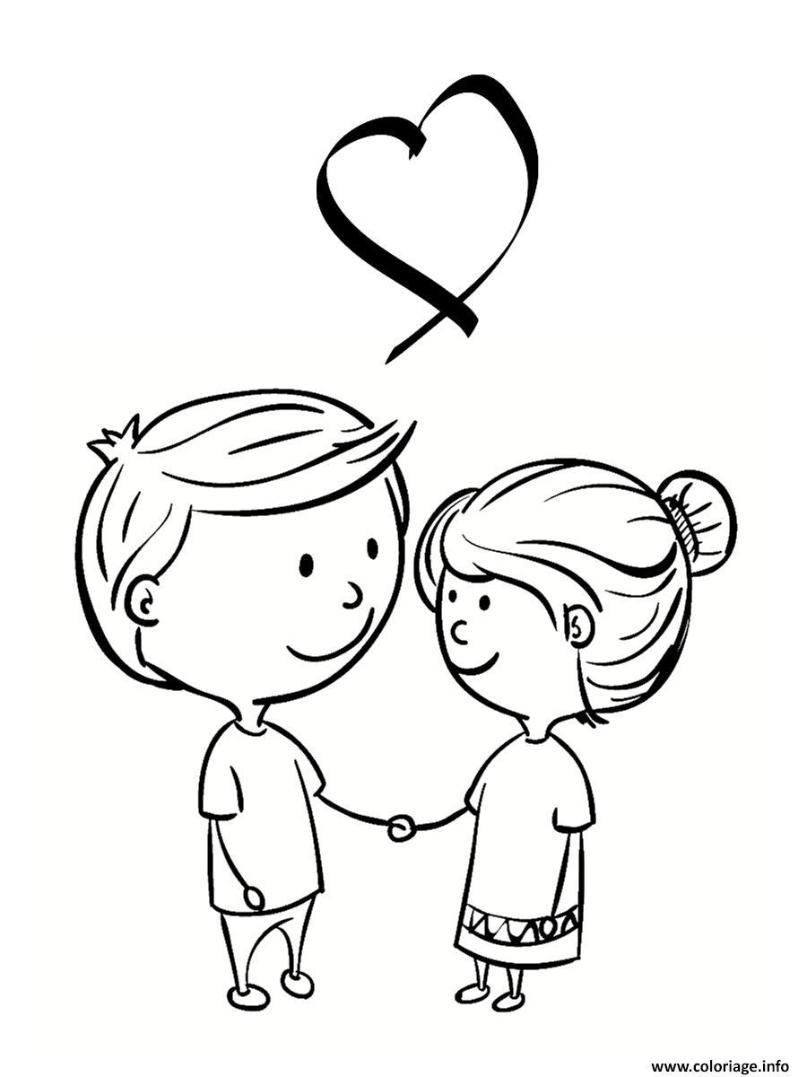 Dessin deux amoureux saint valentin Coloriage Gratuit à Imprimer
