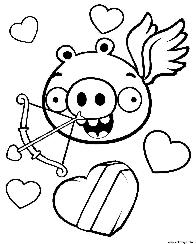 Coloriage Minion Pig Saint Valentin Angrybirds Jecolorie Com
