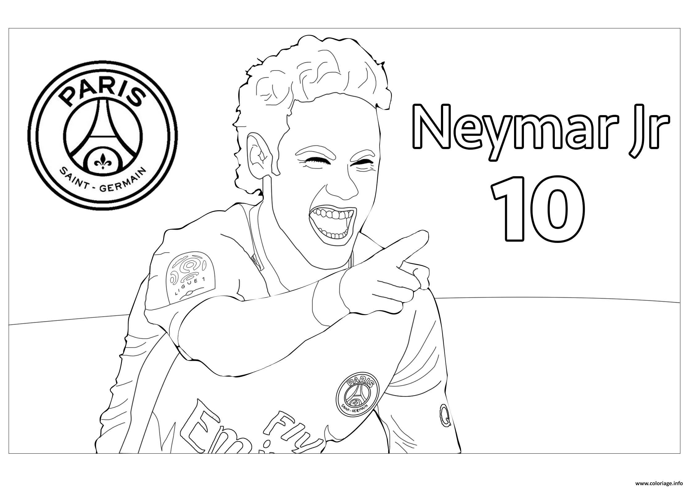 Coloriage joueur de foot neymar jr psg - Image de joueur de foot a imprimer ...