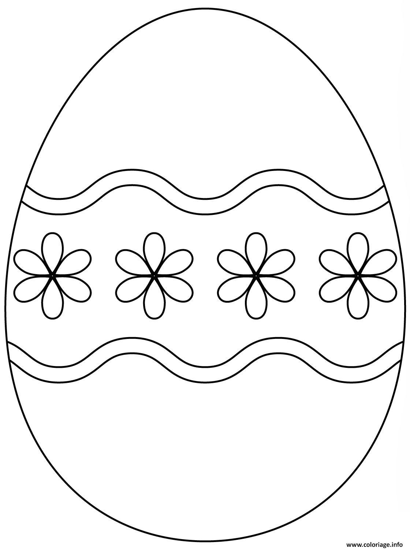 Coloriage Oeuf De Paques Gratuit A Imprimer.Coloriage Oeuf De Paques Avec Simple Flower Pattern Jecolorie Com
