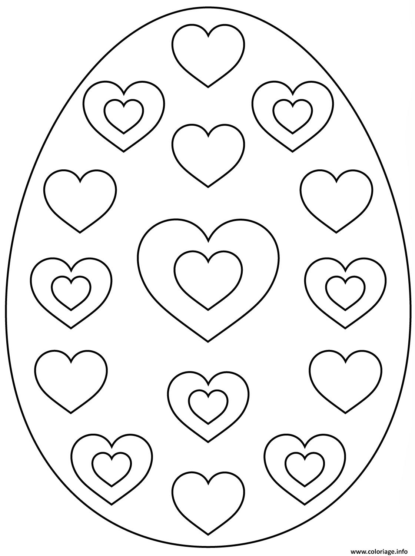 Coloriage oeuf de paques avec hearts dessin - Oeuf de paques a colorier ...