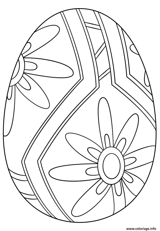 Coloriage Oeuf Paques Gratuit.Coloriage Oeuf De Paques Avec Flower Pattern 1 Dessin