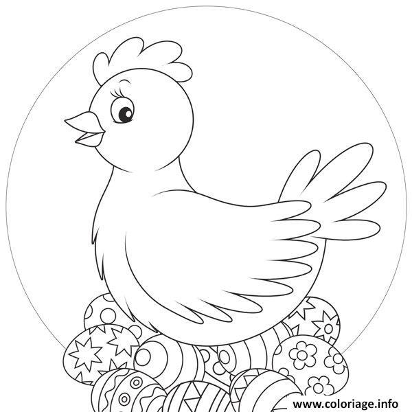 Coloriage Oeufs De Poule Pour Paques Dessin