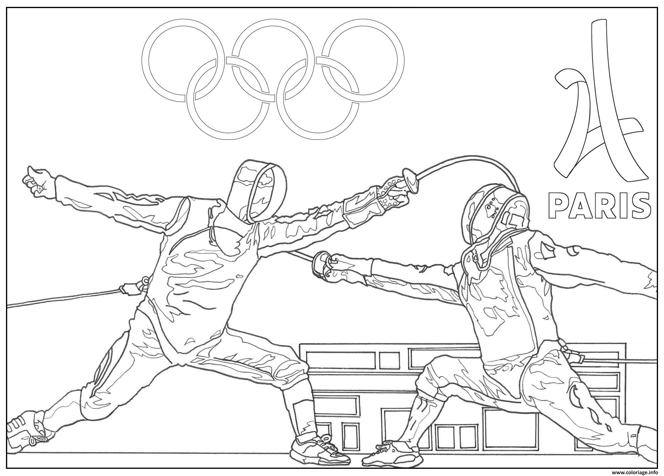 Dessin adulte jeux olympiques escrime paris 2024 Coloriage Gratuit à Imprimer