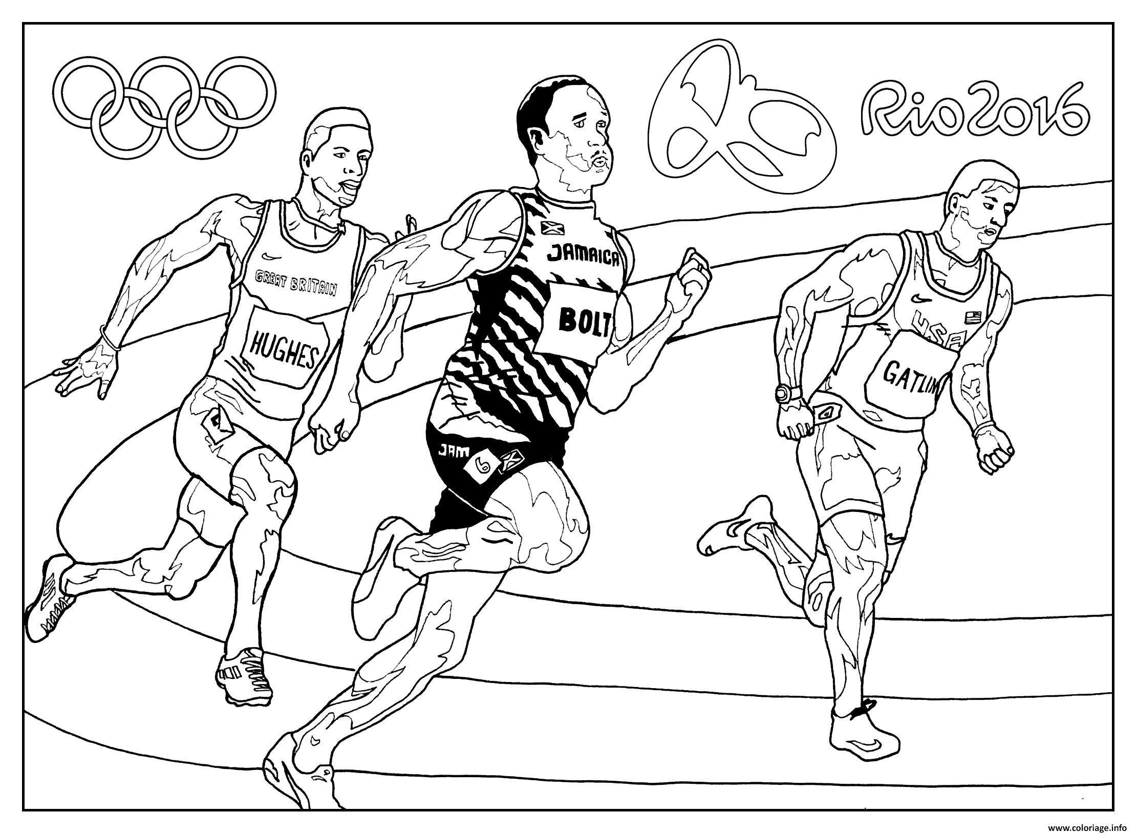Dessin bolt hugues jeux olympiques rio 2016 athletisme Coloriage Gratuit à Imprimer