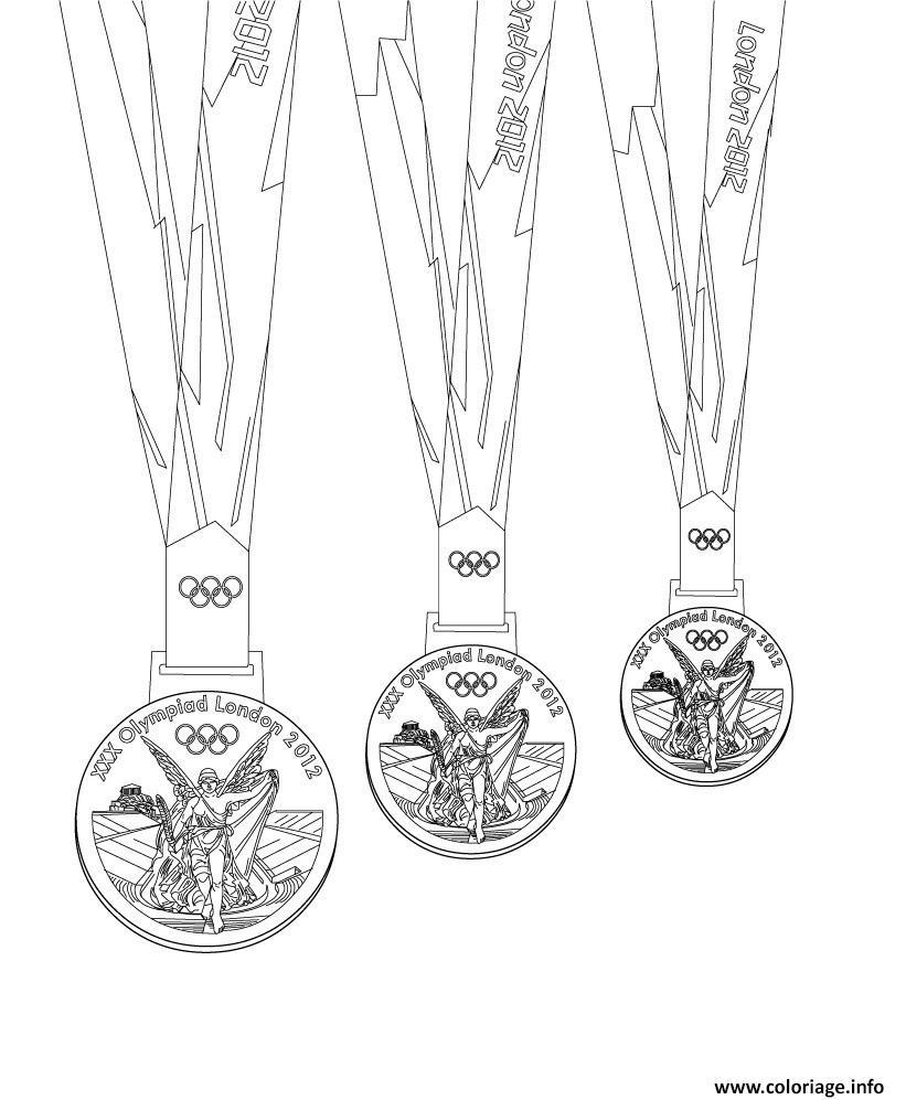 Dessin medailles olympiques or argent bronze Coloriage Gratuit à Imprimer
