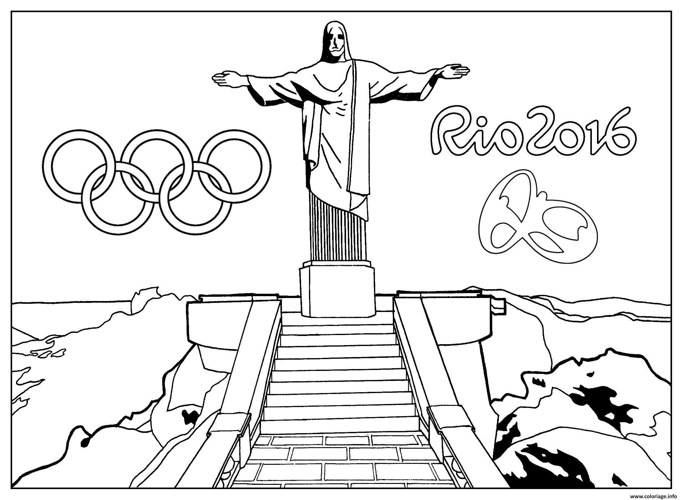 Dessin rio 2016 jeux olympiques statue christ redempteur rio de janero Coloriage Gratuit à Imprimer