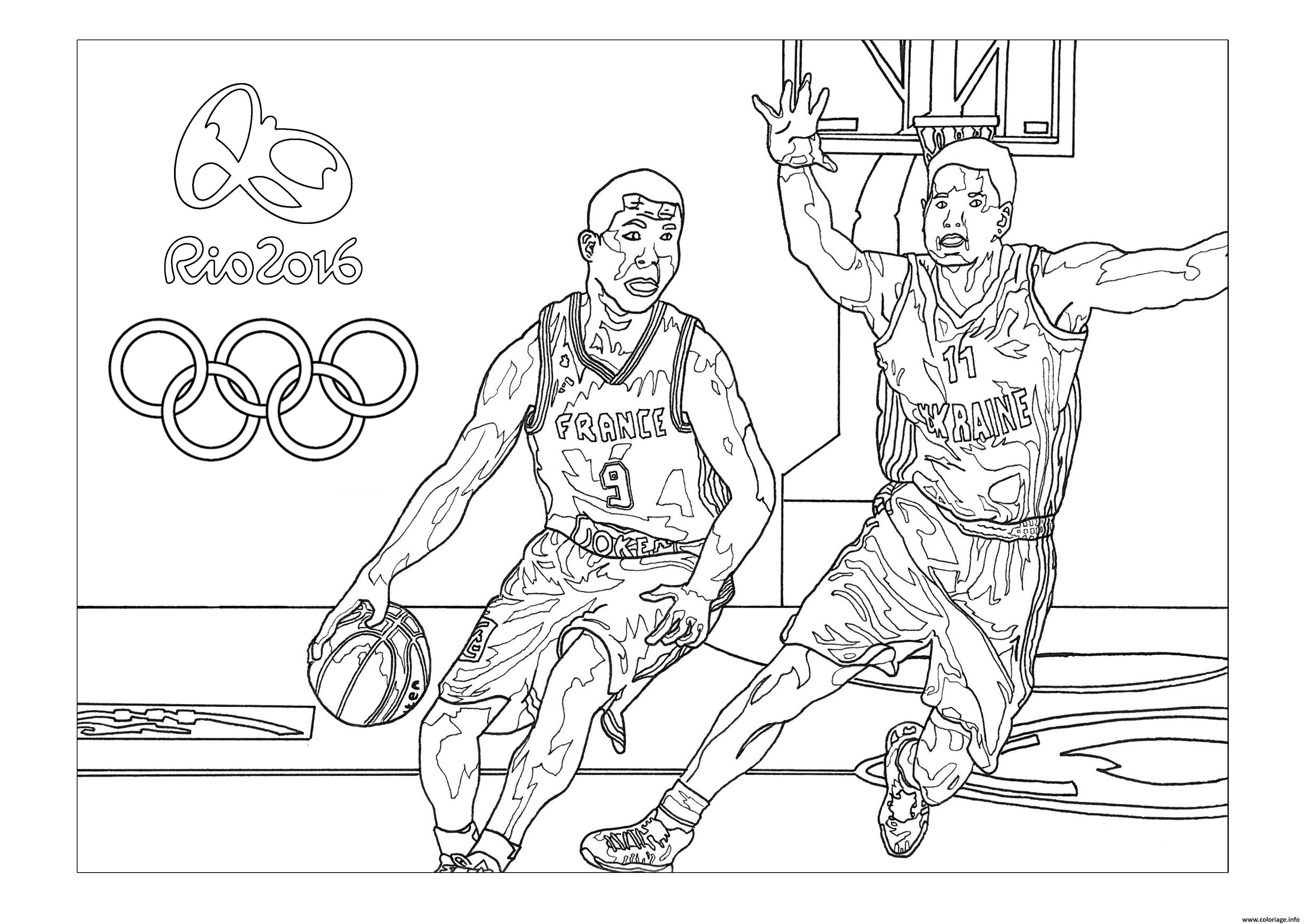 Dessin rio 2016 jeux olympiques basketball Coloriage Gratuit à Imprimer