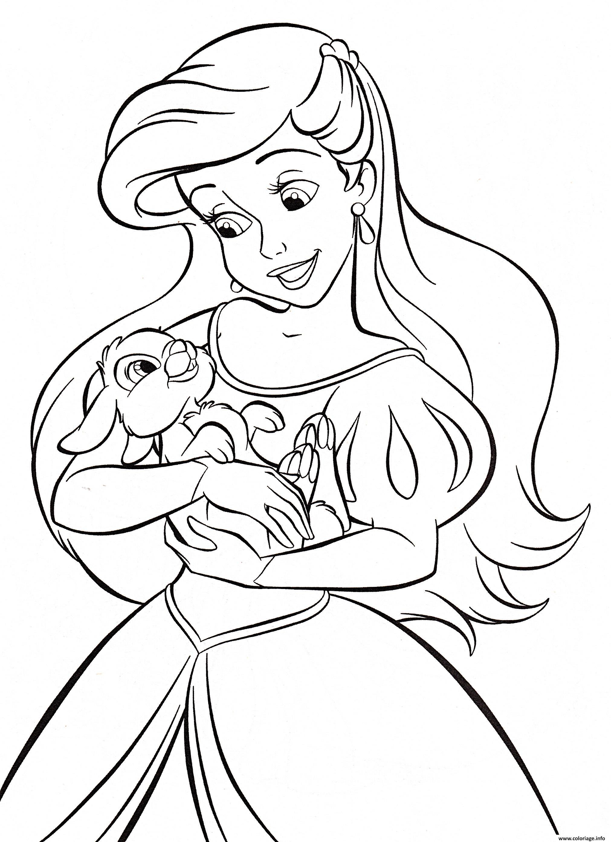 Coloriage petite sirene tient un lapin dessin - Sirene a colorier et imprimer ...