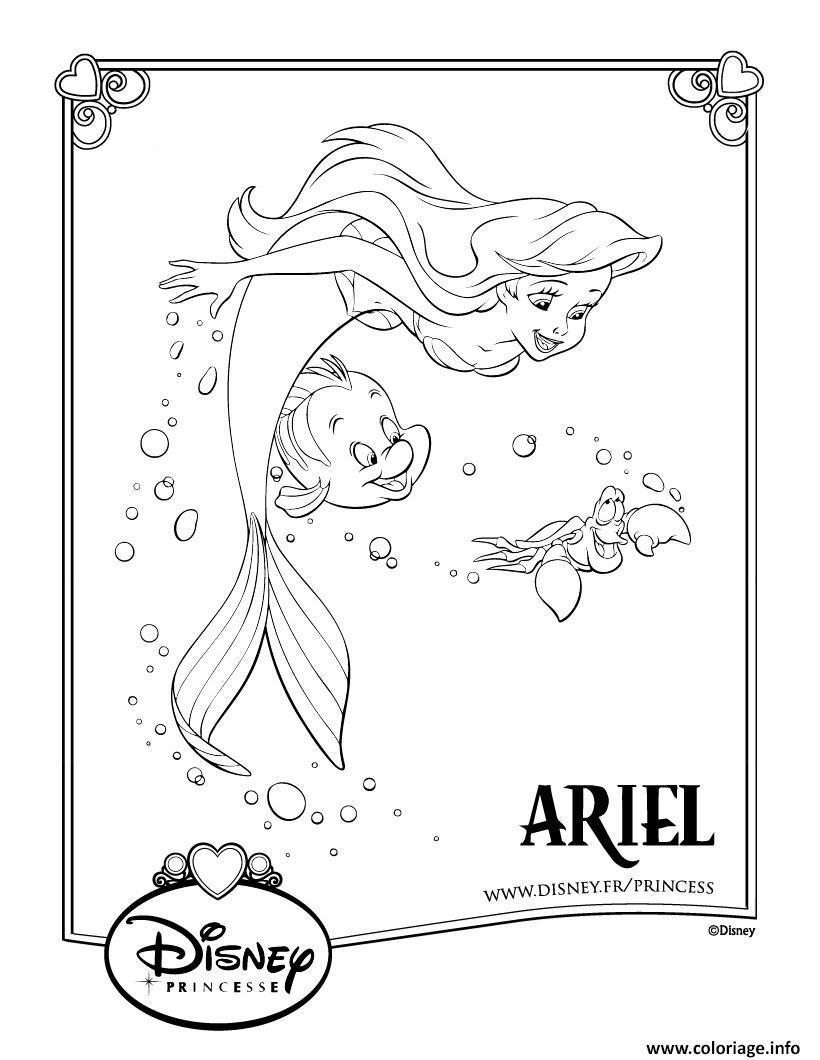 Coloriage la petite sirene disney princesse - Dessiner princesse disney ...