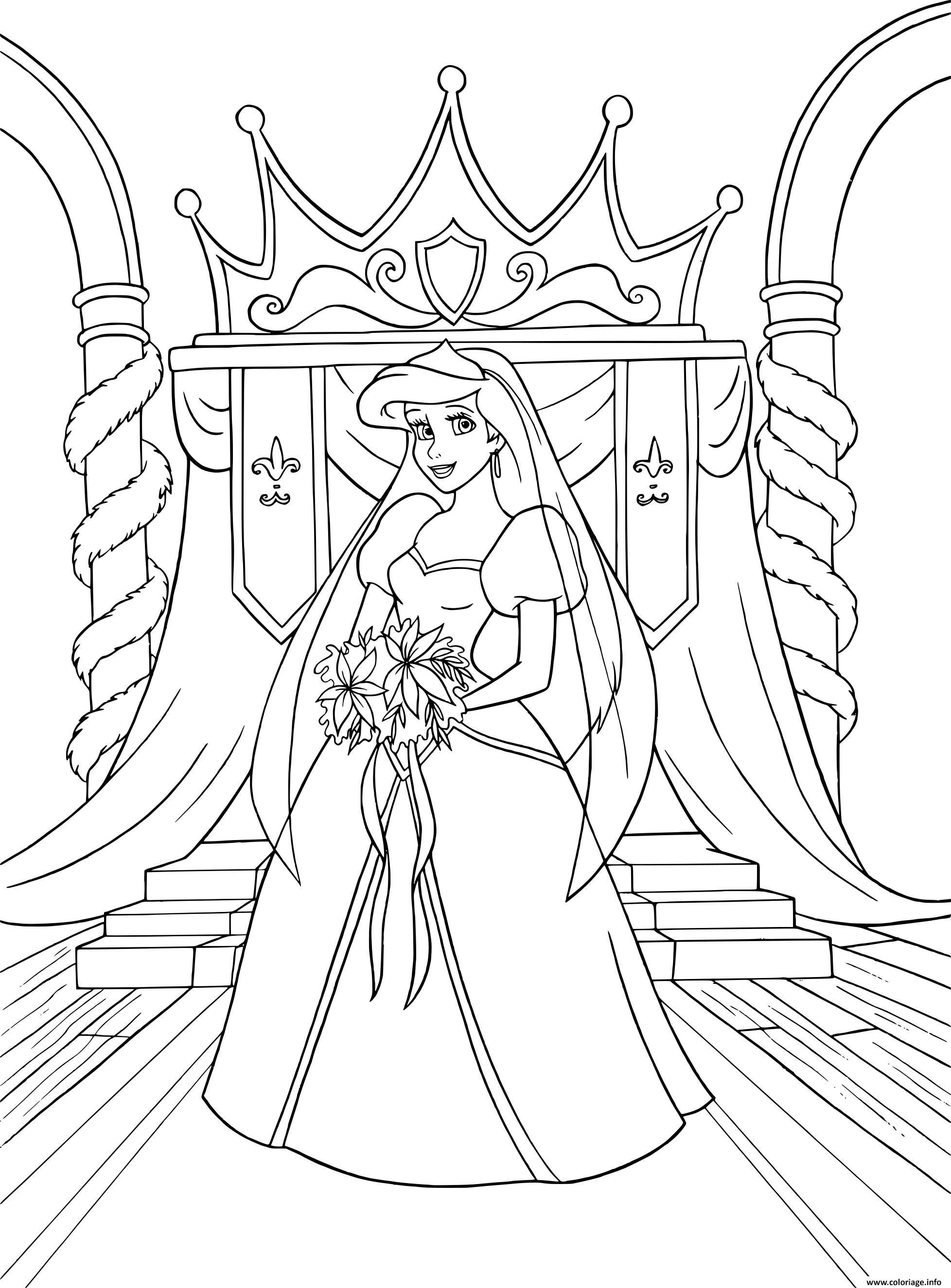Coloriage Princesse Mariage.Coloriage La Petite Sirene En Robe De Mariage Dessin