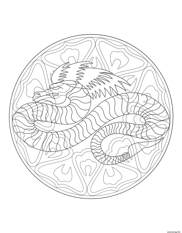 Dessin nouvel an chinois mandala dragon Coloriage Gratuit à Imprimer