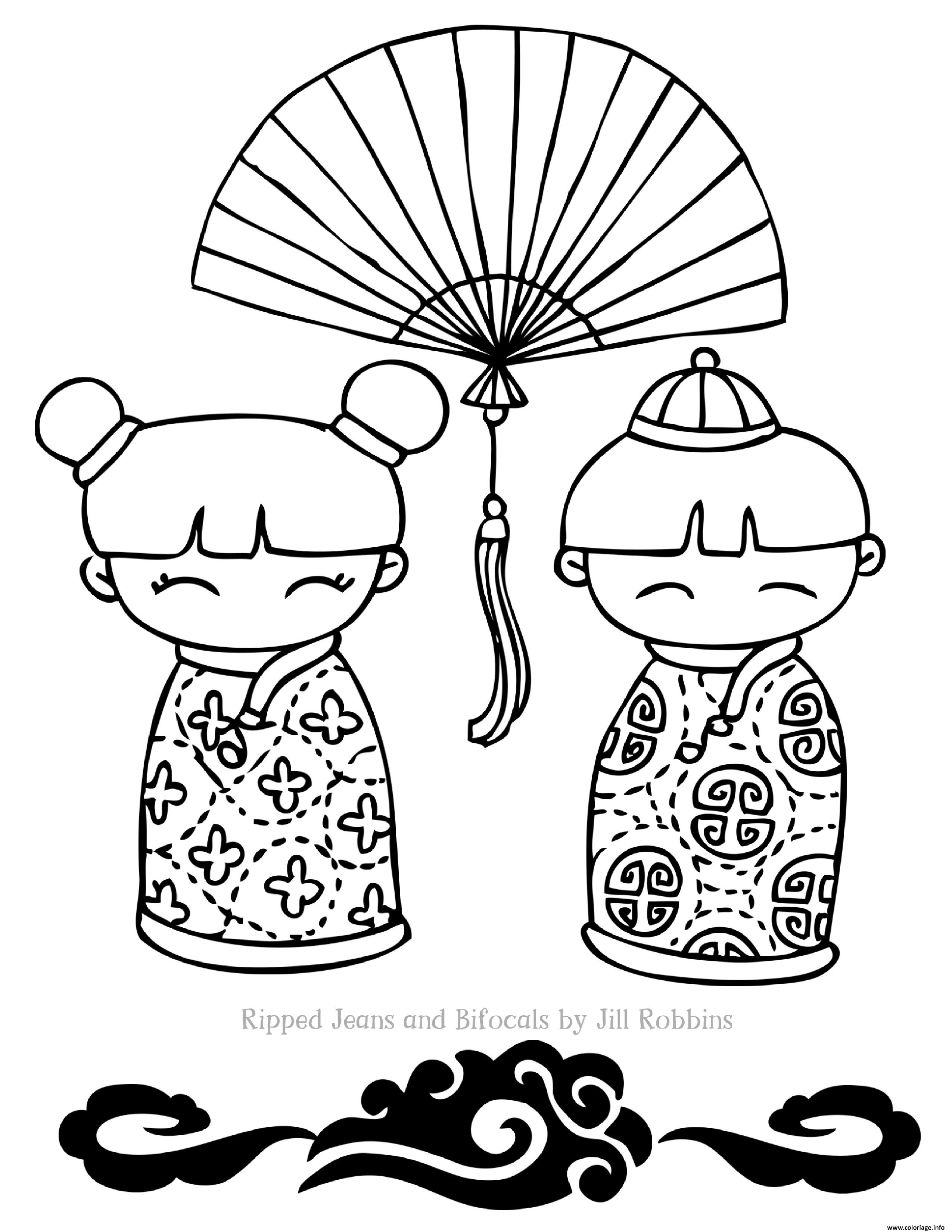 Coloriage Deux Dolls De Nouvel An Chinois Jecoloriecom
