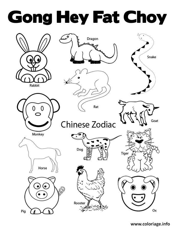 Dessin nouvel an chinois animal zodiac 2 Coloriage Gratuit à Imprimer