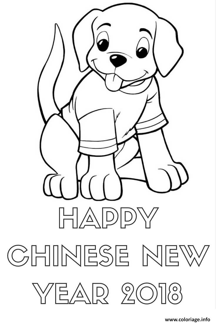 Coloriage Happy Nouvel An Chinois 2018 Sheet Dessin à Imprimer
