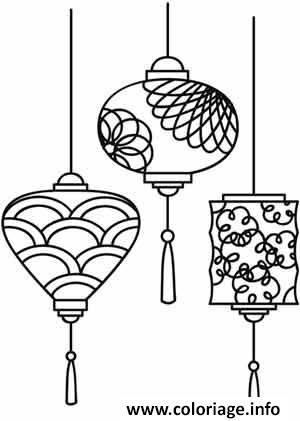 Coloriage Chinois Lanterns For Nouvel An Jecoloriecom