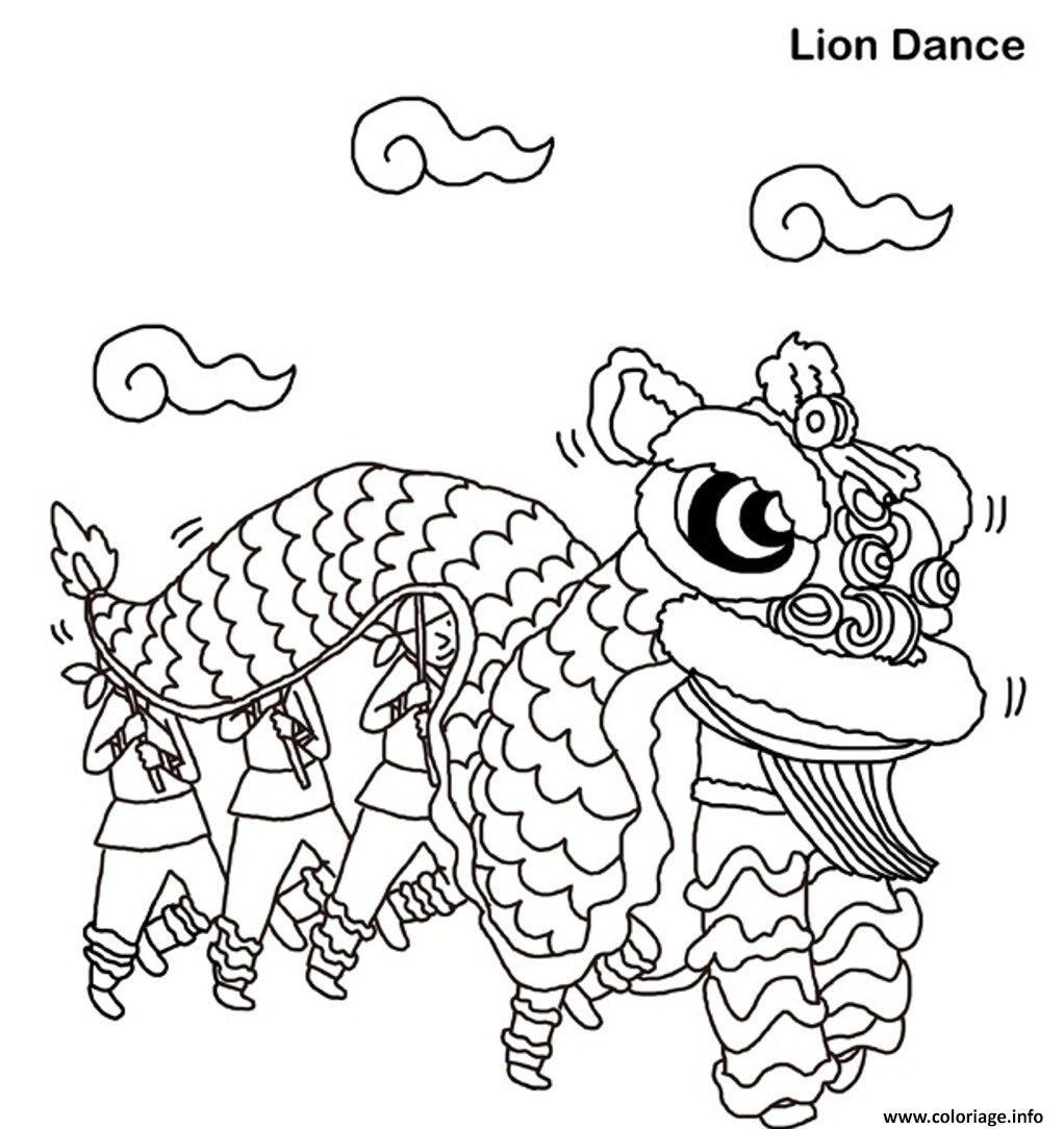 Dessin lion dance free nouvel an chinois Coloriage Gratuit à Imprimer