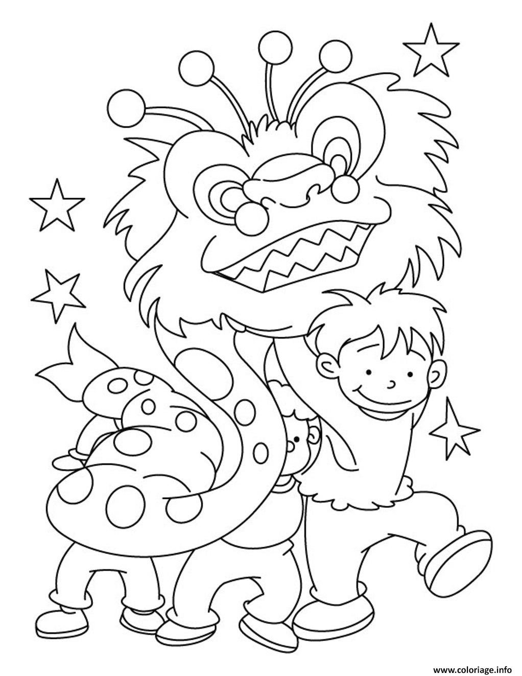 Dessin dragon nouvel an chinois kids Coloriage Gratuit à Imprimer