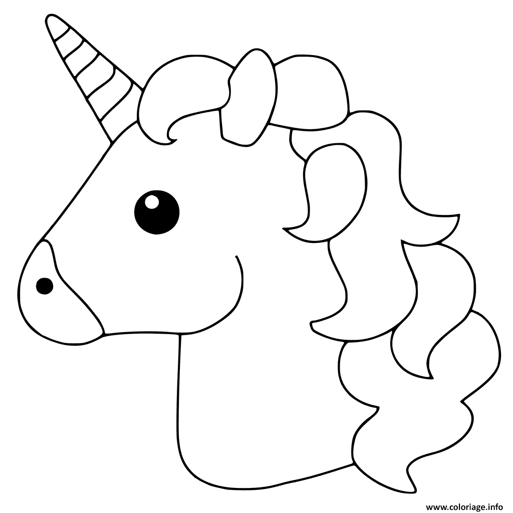 Coloriage Unicorn Emoji Dessin