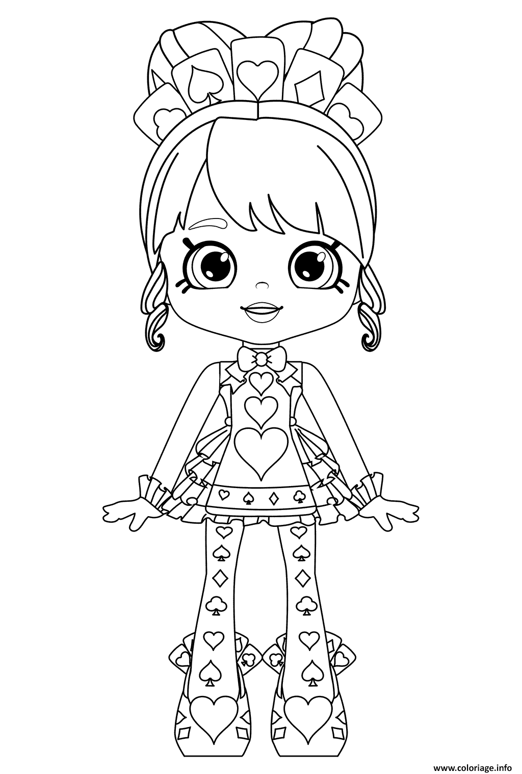 Coloriage Shopkins Shoppies Queenie Hearts Or Queen Of Hearts Dessin à Imprimer