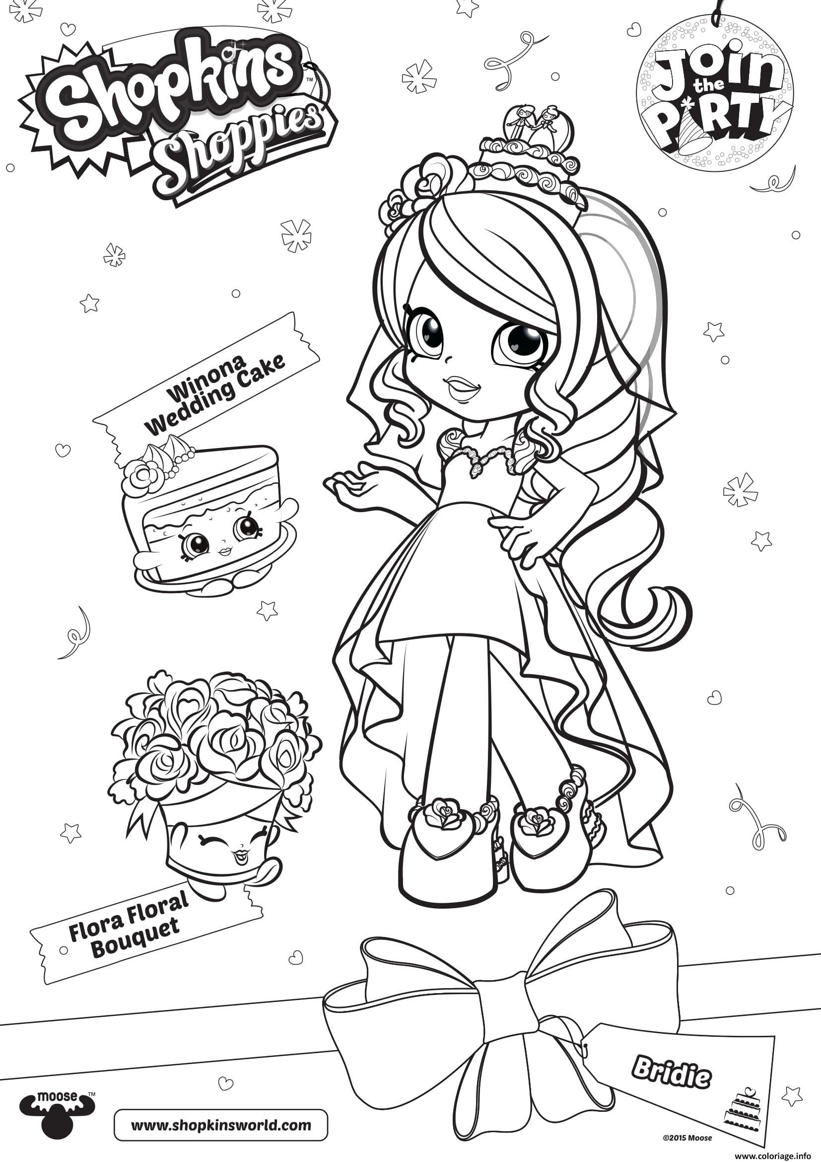 Dessin shopkins shoppies join the party Winona Wedding Cake Flora Floral Bouquet Coloriage Gratuit à Imprimer