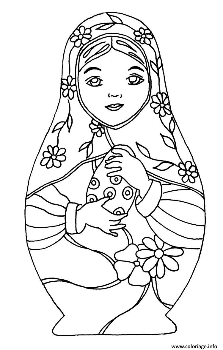 Dessin Matryoshka dolls 4 Poupee Russe Coloriage Gratuit à Imprimer