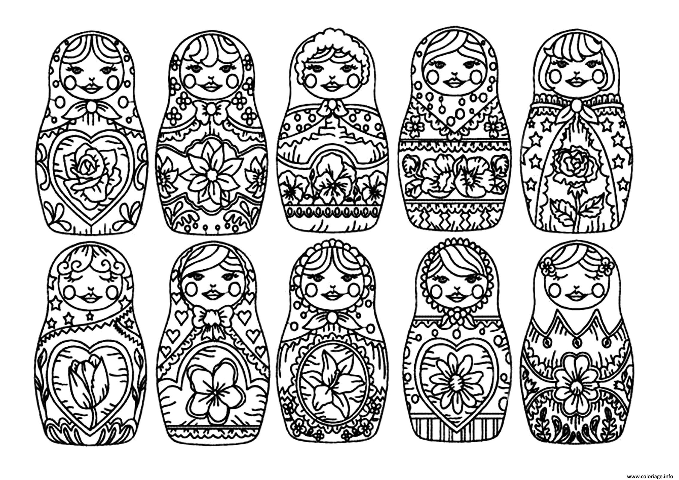 Dessin best Matryoshka dolls adult Poupee Russe Coloriage Gratuit à Imprimer