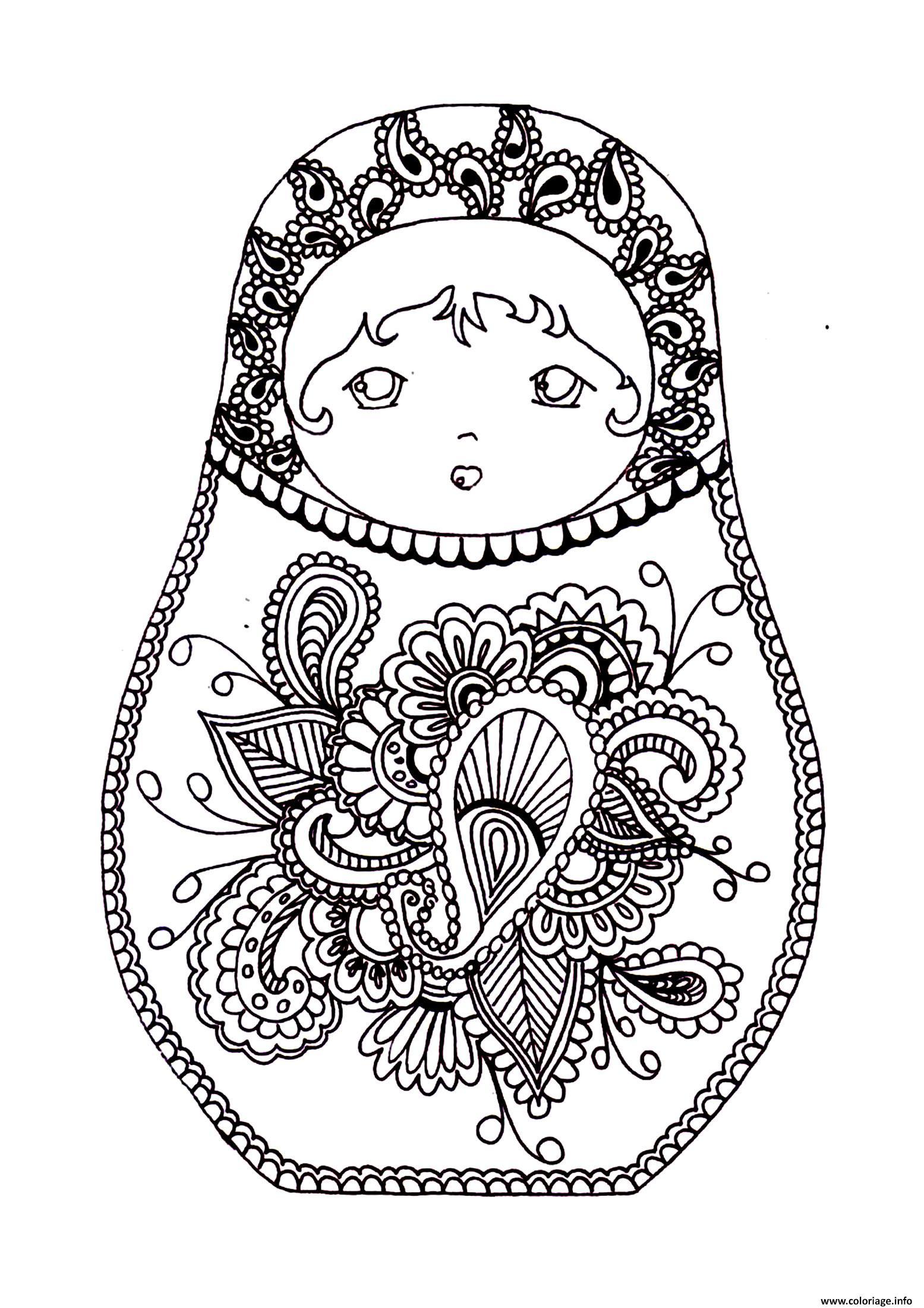 Coloriage Matryoshka Dolls Original Poupee Russe Dessin ...