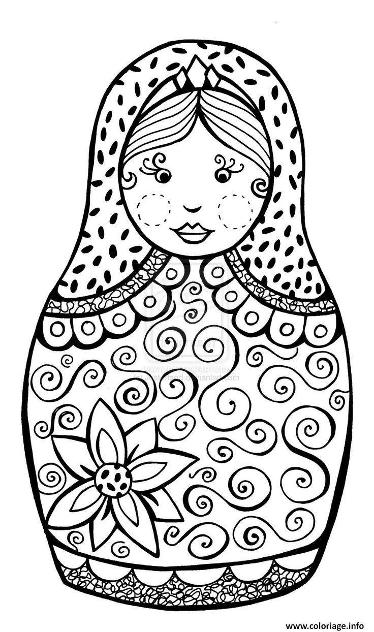 Dessin babushka Matryoshka dolls Poupee Russe Coloriage Gratuit à Imprimer