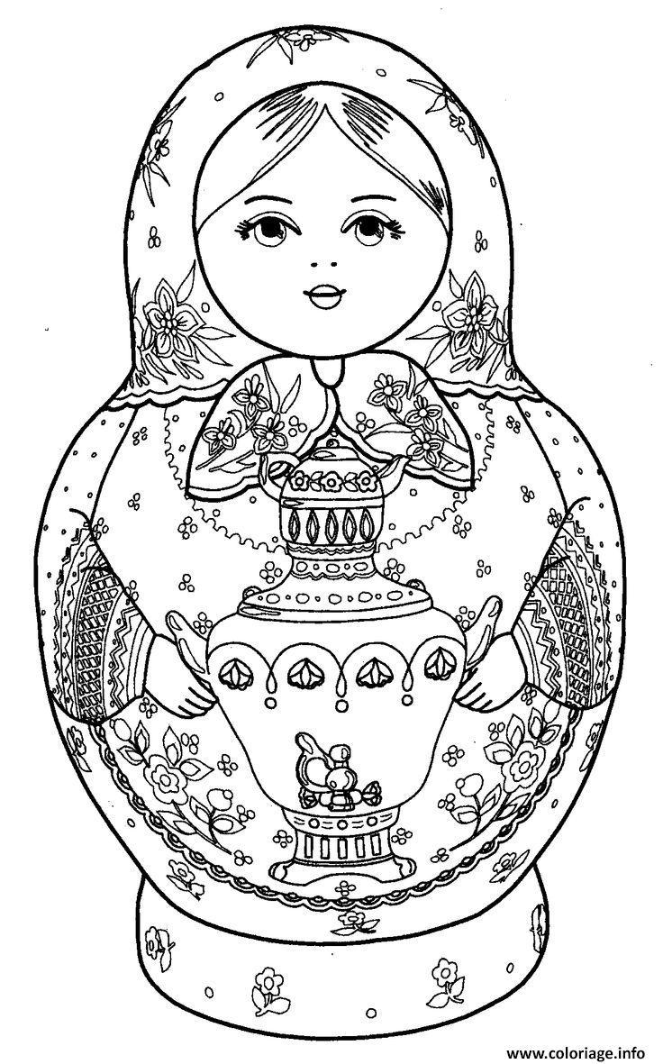 Coloriage Matryoshka Dolls 2 Poupee Russe dessin