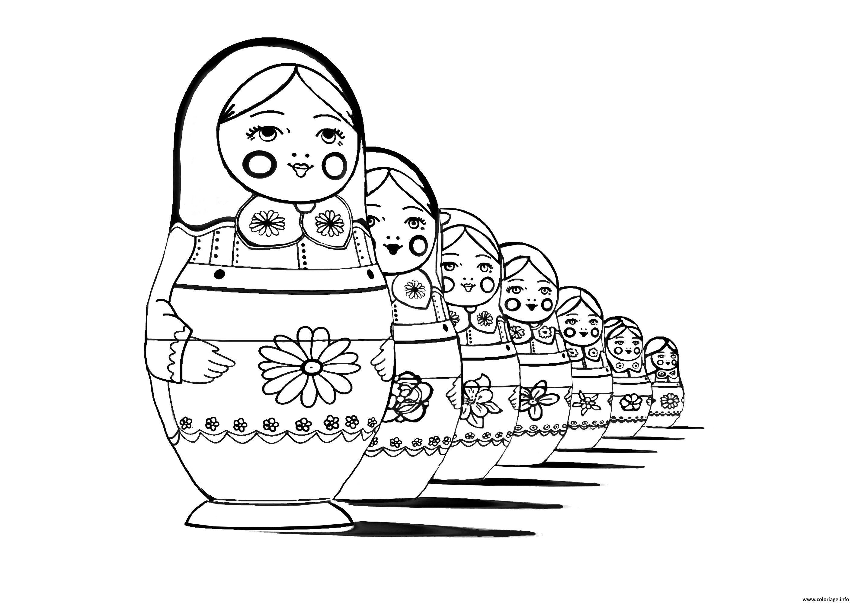 Dessin adult Matryoshka dolls perspective Poupee Russe Coloriage Gratuit à Imprimer
