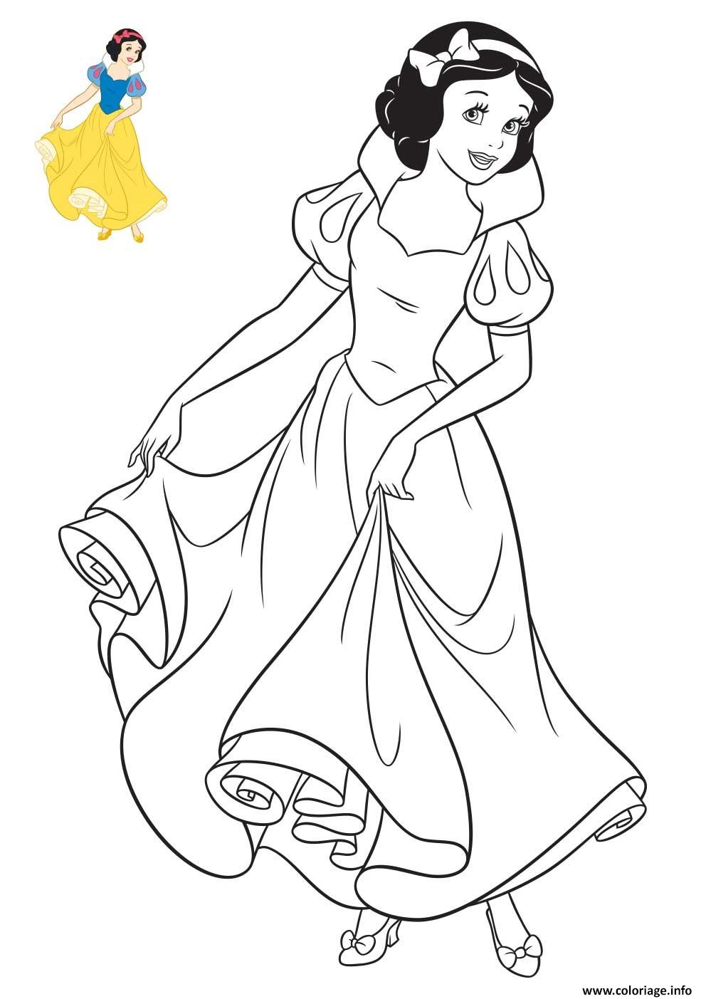 Coloriage princesse disney blanche neige - Dessin de disney facile ...