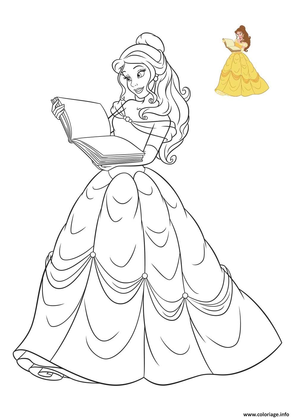 Coloriage Princesse Disney La Belle et la Bete - JeColorie.com