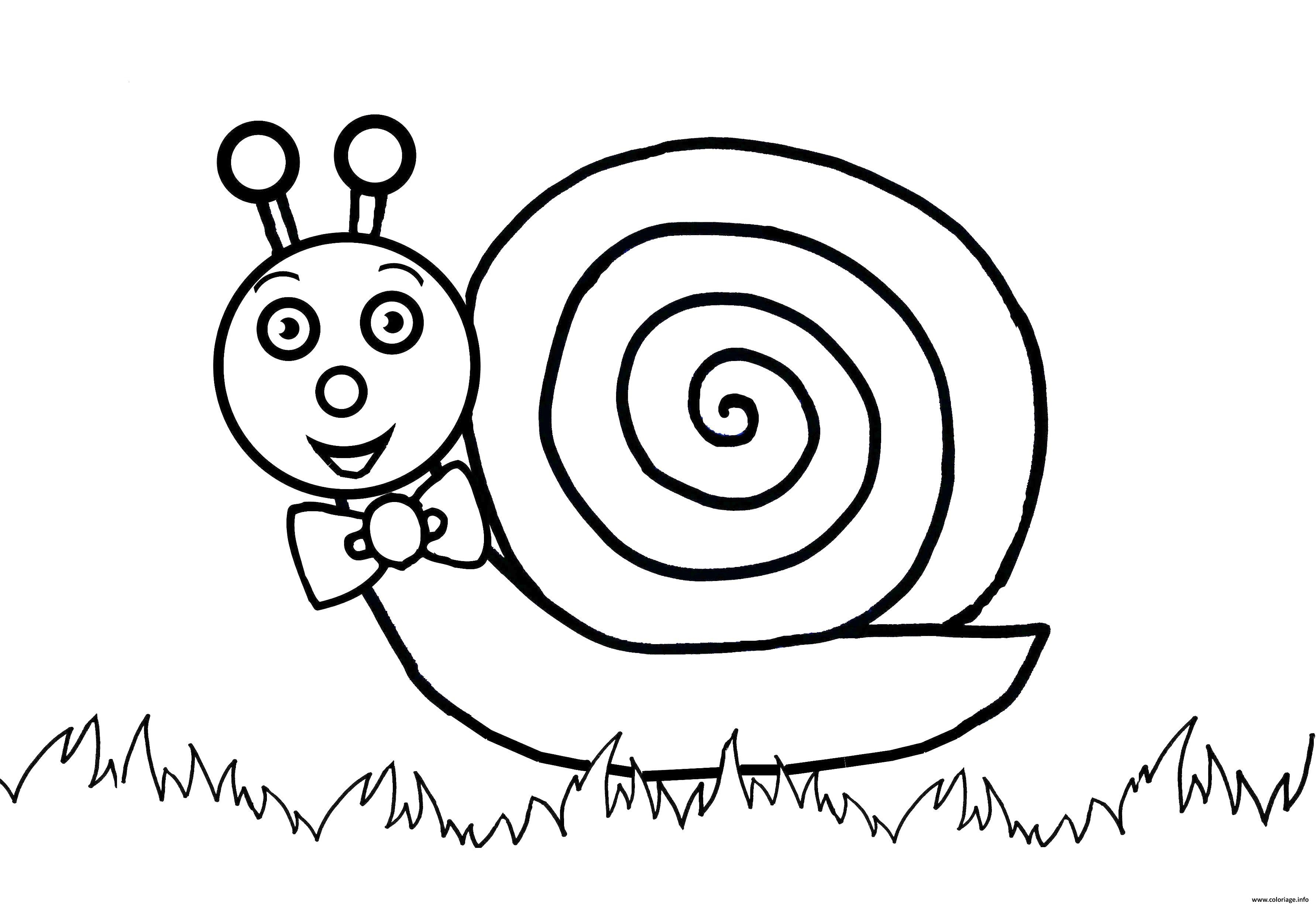 Coloriage escargot avec un grand sourire - Escargot dessin ...