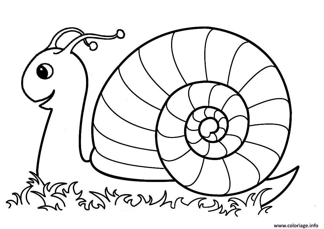Coloriage escargot maternelle dans la nature dessin - Coloriages escargot ...