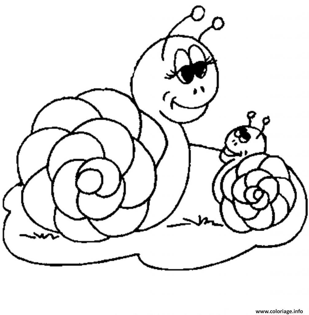 Coloriage Mama Escargot Et Son Enfant Jecolorie Com