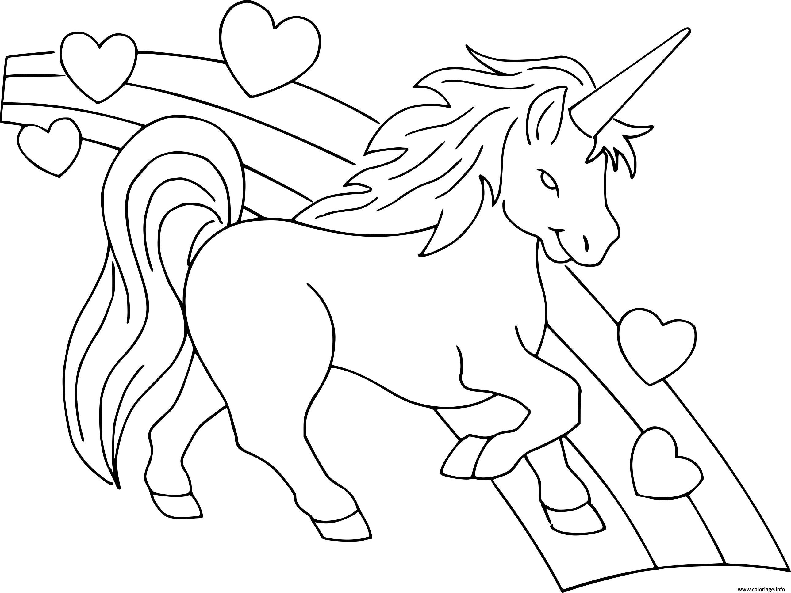 Coloriage Arc En Ciel Et Princesse.Coloriage Dessin Licorne Coeur Arc En Ciel Dessin