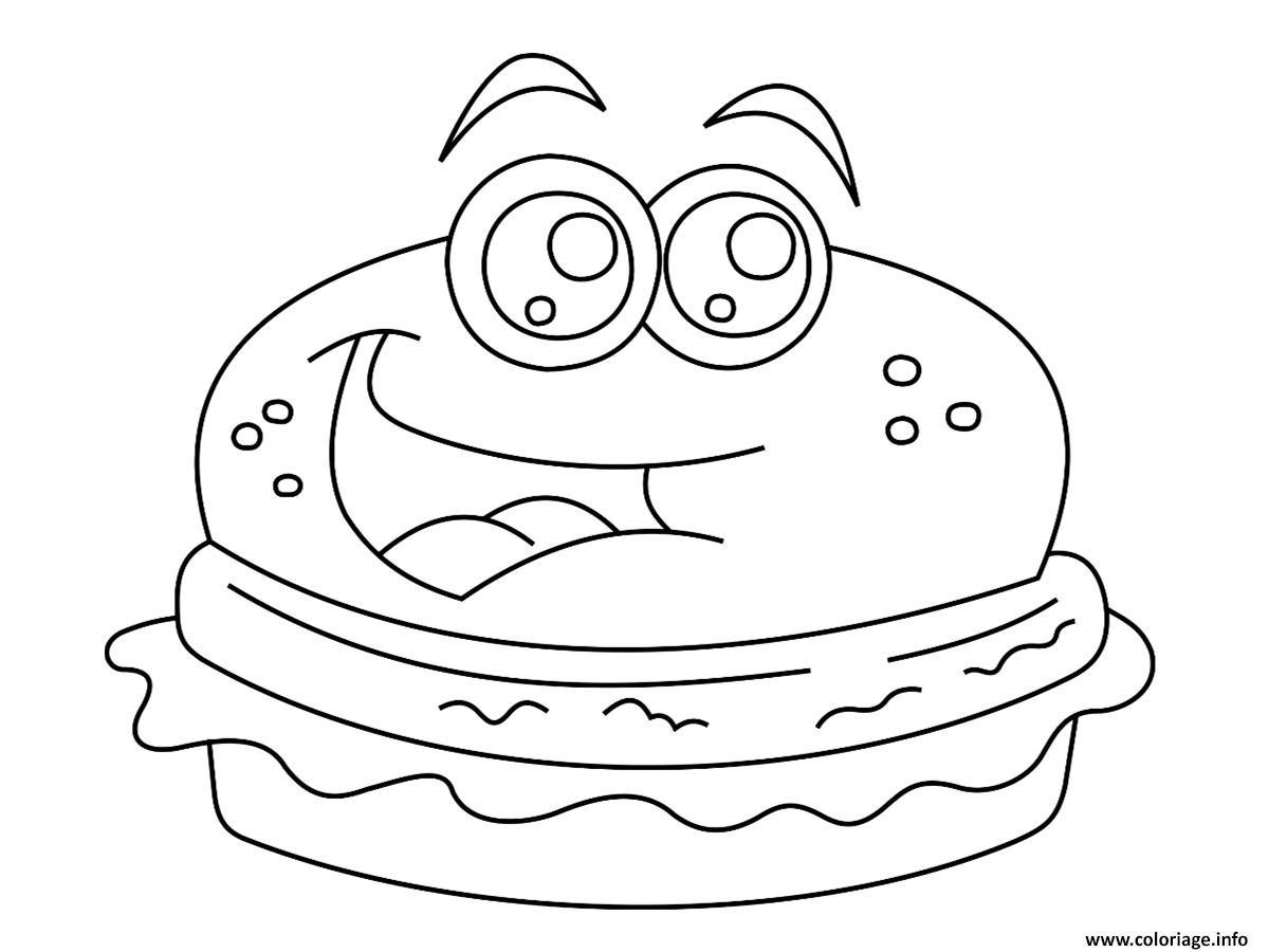 coloriage dessin burger kawaii dessin imprimer