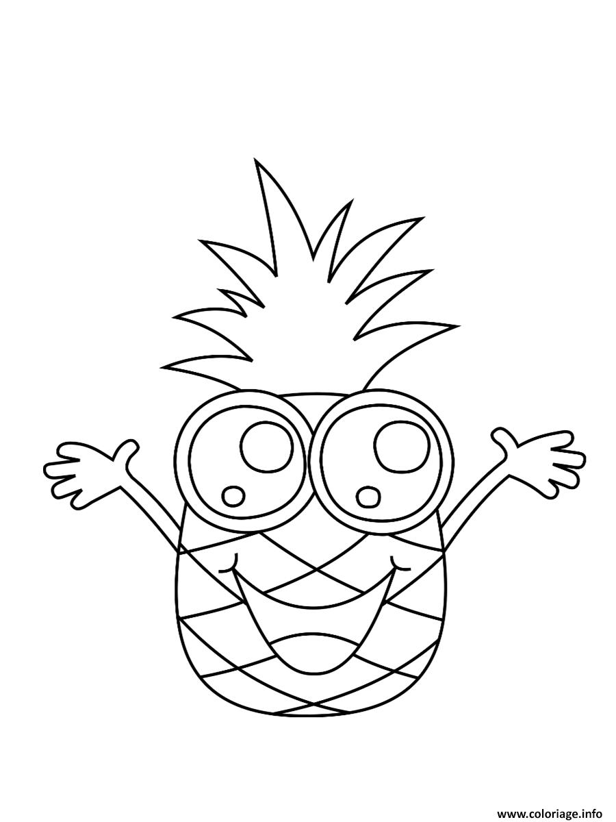 Coloriage dessin ananas kawaii - Coloriage kawaii a imprimer ...