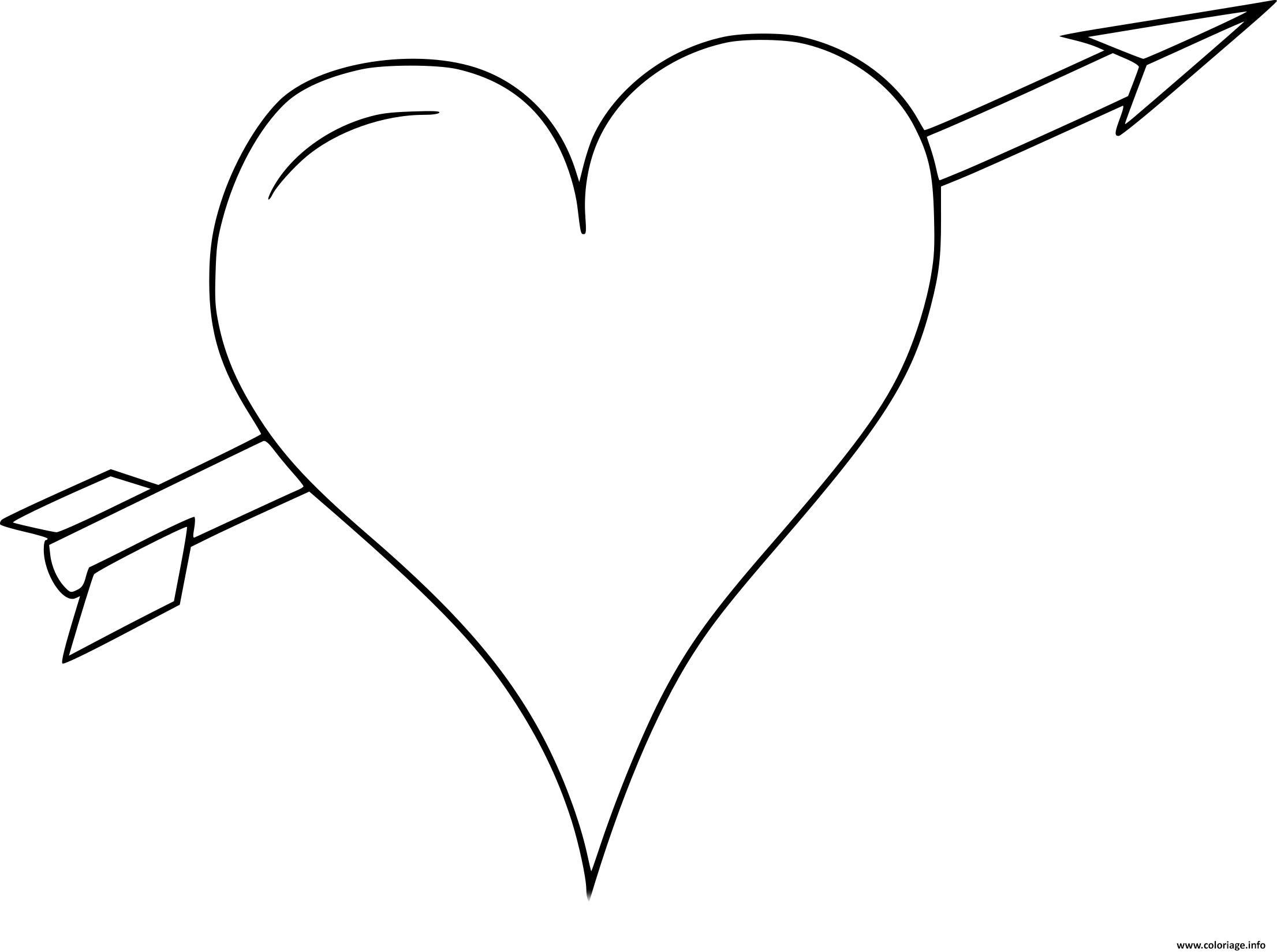 Coloriage dessin coeur avec une fleche dessin - Coloriage avec des coeurs ...