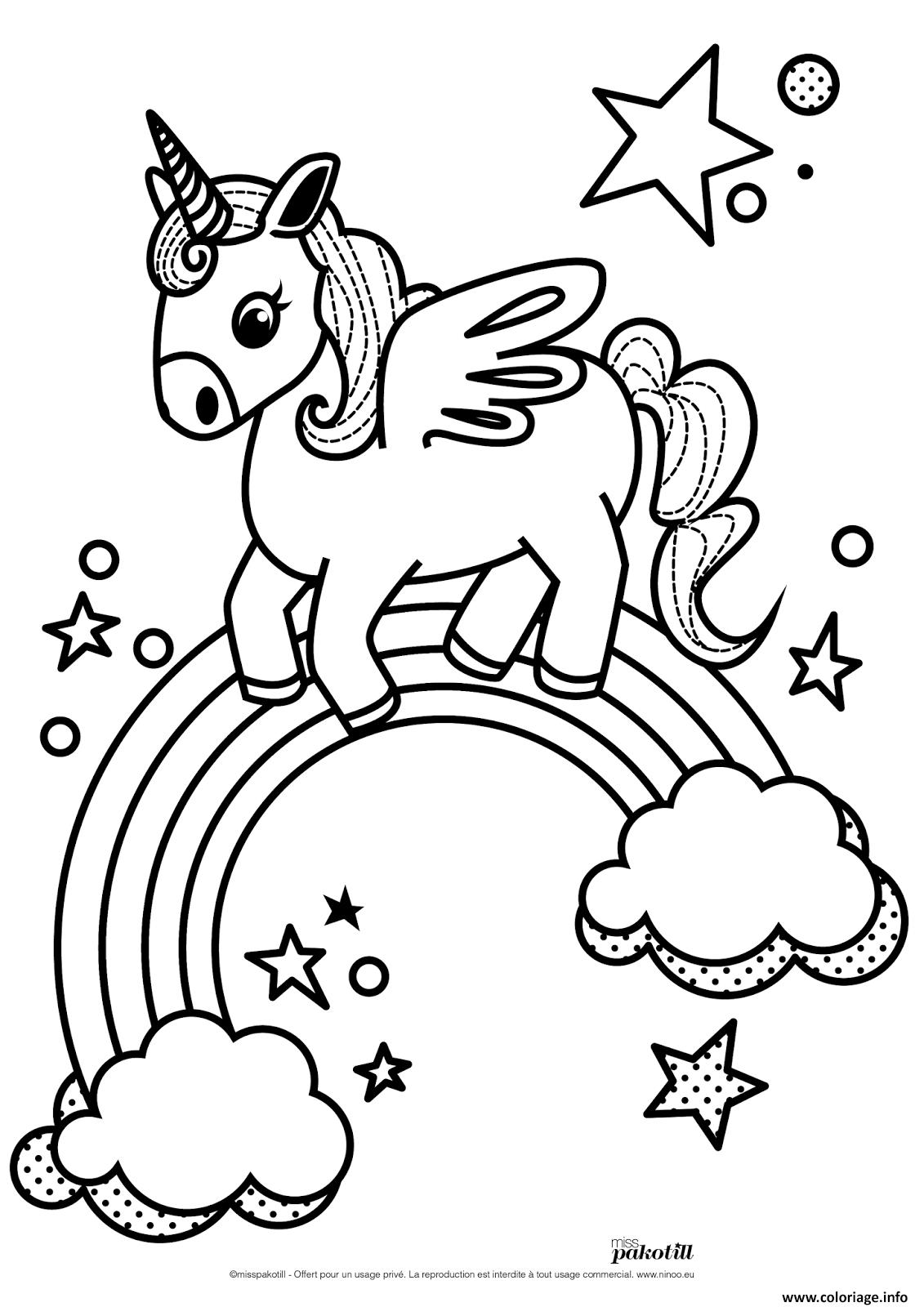 Coloriage dessin licorne arc en ciel - Coloriage ciel ...
