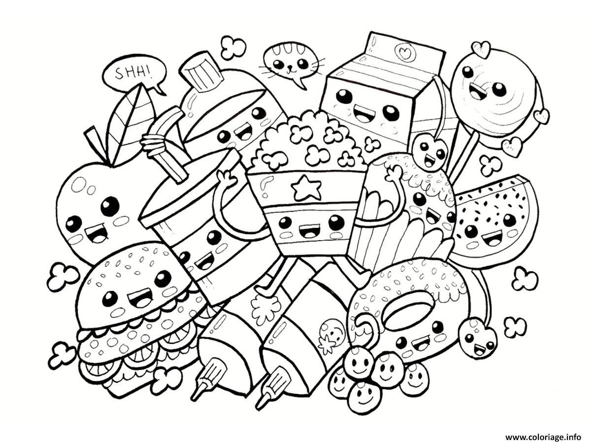 Coloriage dessin aliments kawaii - Dessin de chat kawaii ...