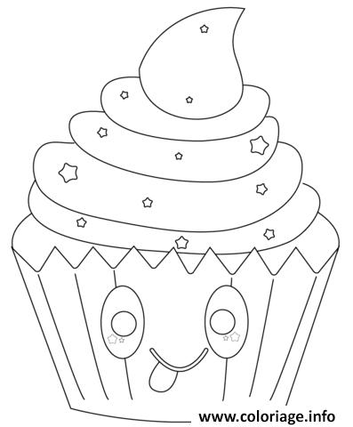 Coloriage Dessin Kawaii Cupcake Jecoloriecom