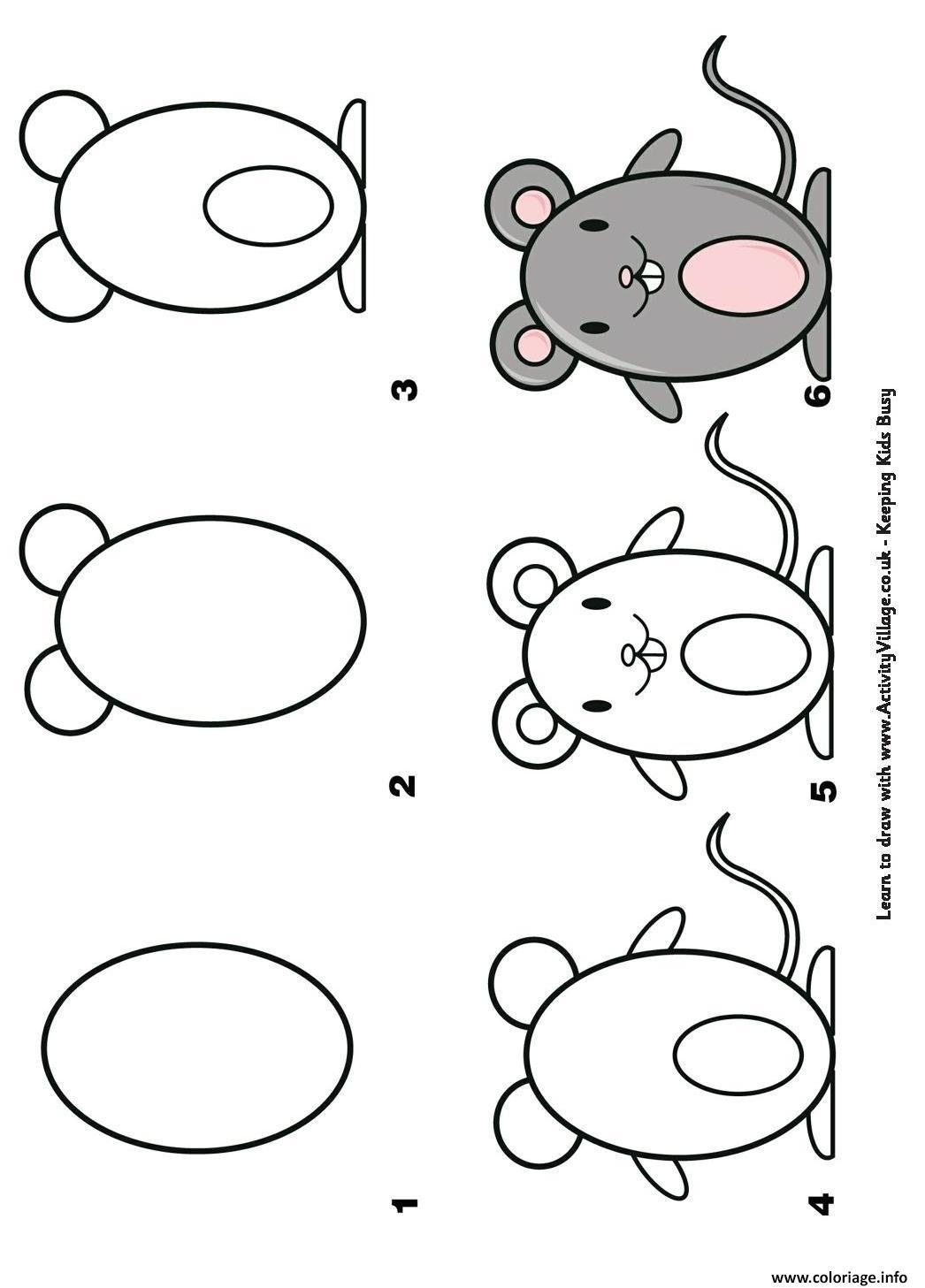 Coloriage Comment Dessiner Une Souris Etape Par Etape Dessin