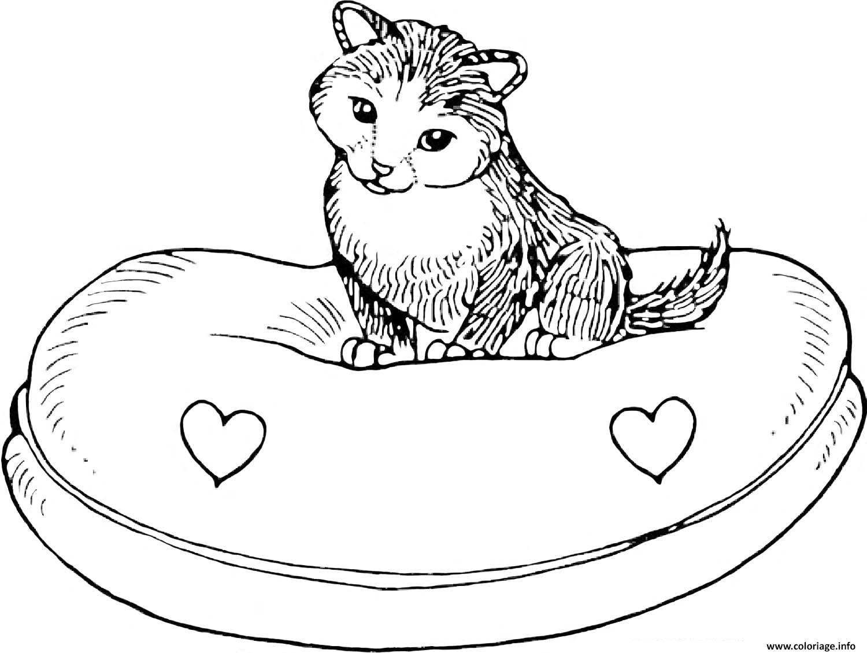 Coloriage dessin chat sur son lit dessin - Coloriage de chat en ligne ...