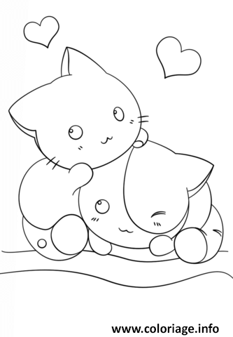 Coloriage Dessin Kawaii Kittens Chats Jecolorie Com