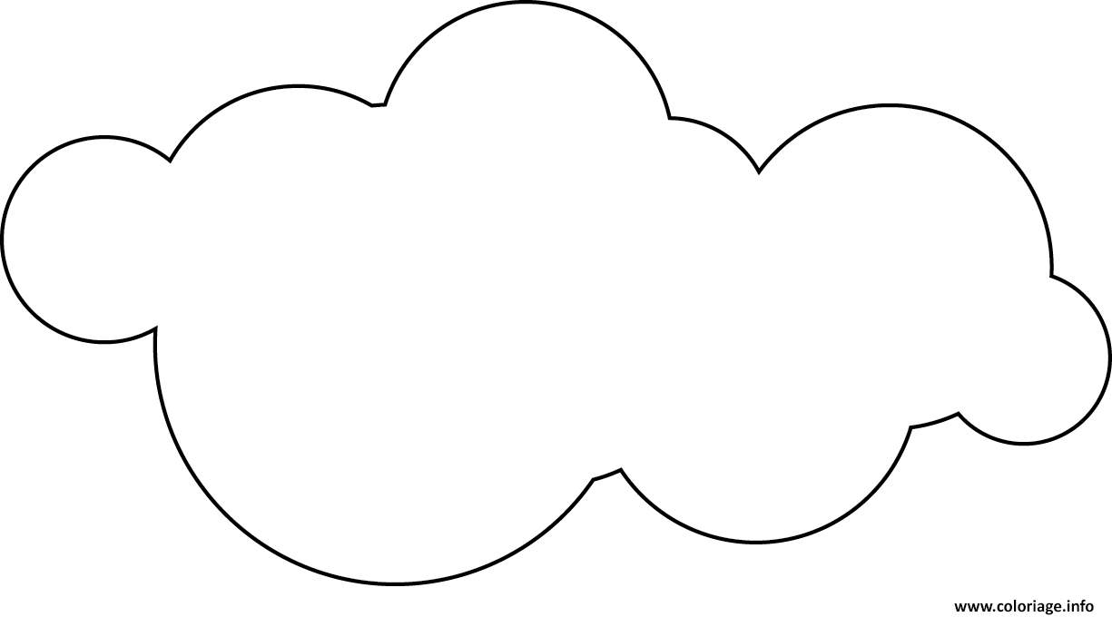 Coloriage dessin nuage ciel for Cloud template with lines