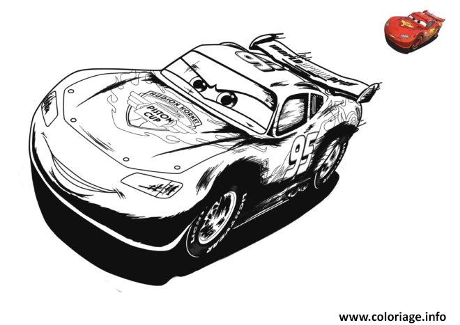 Coloriage cars 3 flahs mcqueen en pleine vitesse dessin - Jeu gratuit cars flash mcqueen ...