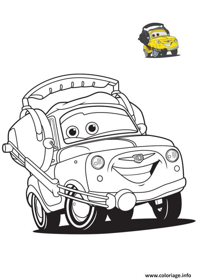 Coloriage cars 3 luigi personnage dans film cars voiture jaune - Coloriage cars 3 ...