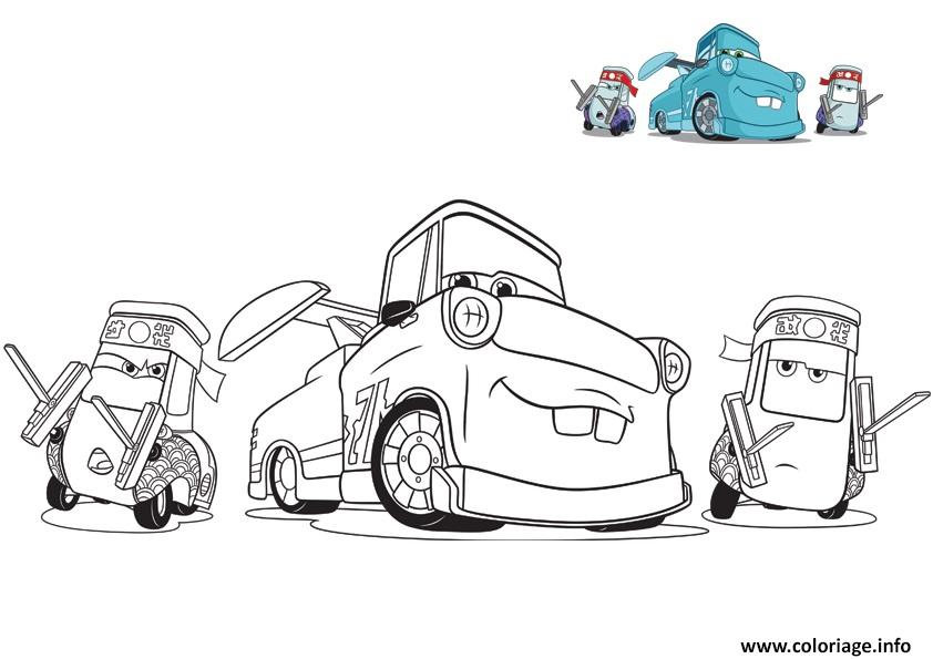 Coloriage Cars 3 Guido Et Ses Amis Voiture Mecanique Depanneuse Dessin